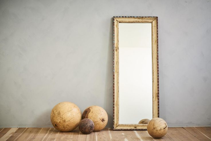 This floor mirror or wall mirror, made from a reclaimed architectural wood  frame, will be the perfect anchor to your Moroccan decor or Mediterranean  space. As an accent for a stairway landing, a grand bathroom piece, a salon  station mirror or used in a retail setting, the rich yellow and blue