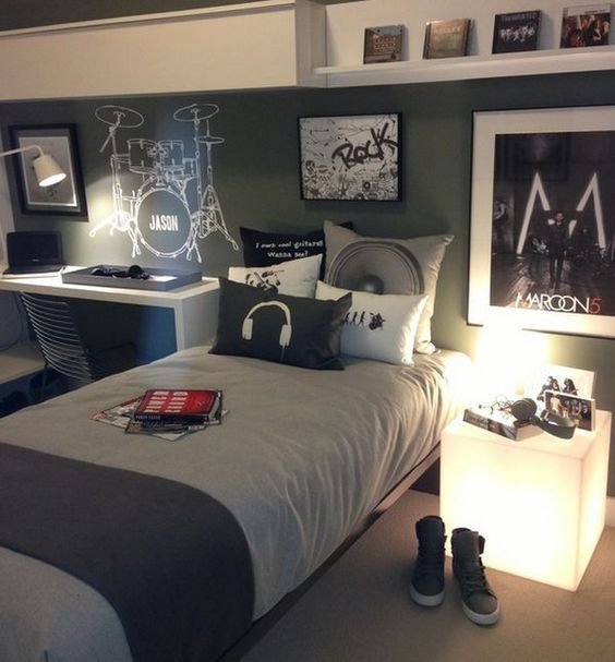 04 ultra-modern music-inspired bedroom with a lit up nightstand - DigsDigs
