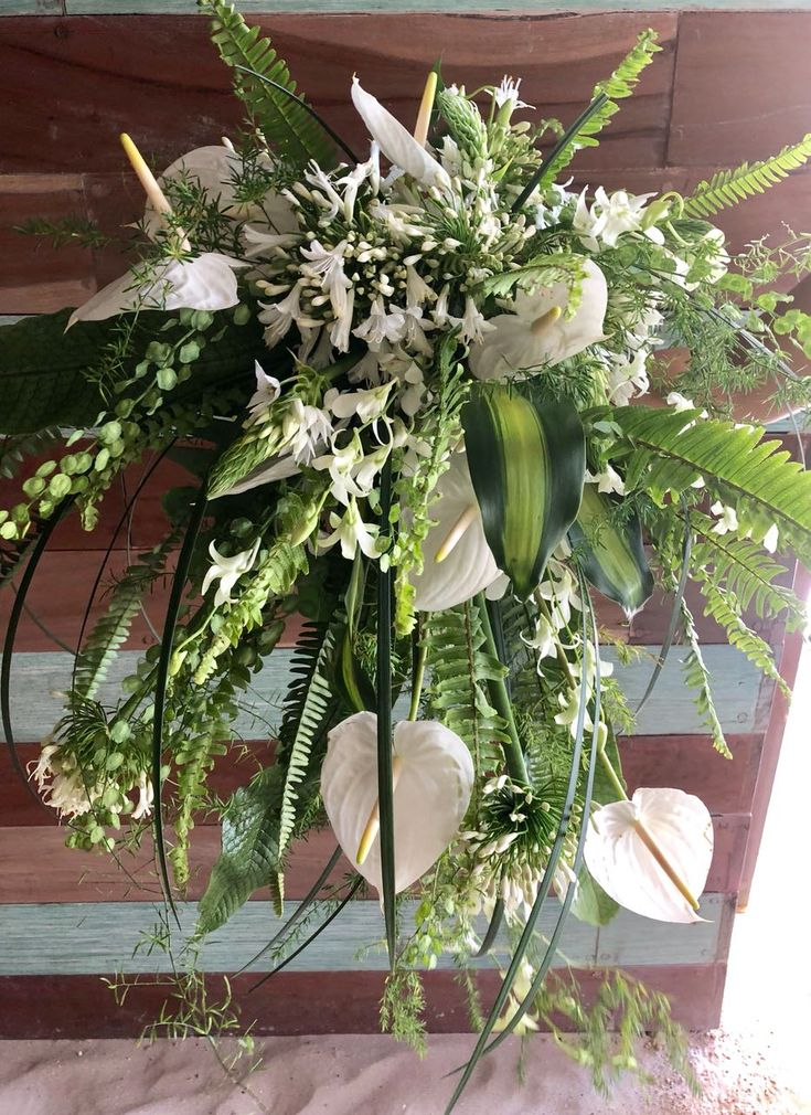 CBR494 maxi bride bouquet with greenery and white anthuriums flowers