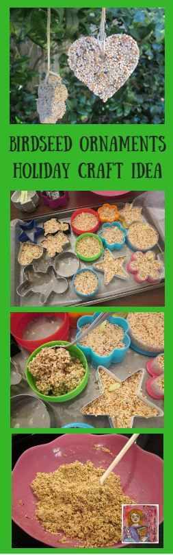 Birdseed ornaments, easy craft to make and send home for students to give families. I would fill the cookie cutter molds outside to keep birdseed off my classroom floor but would be a good craft for holiday party