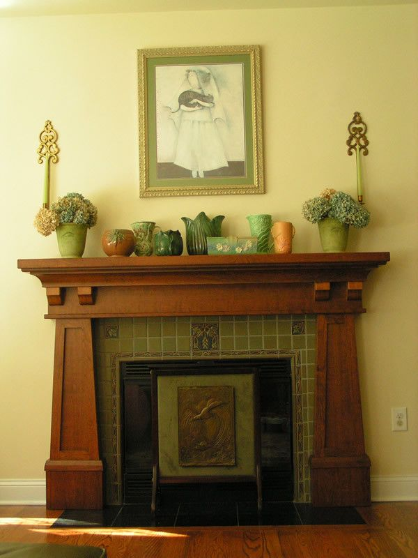 Reminds me of our mantel   craftsman fireplace design with traditional artificial flowers living room craftsman and mantel ornaments