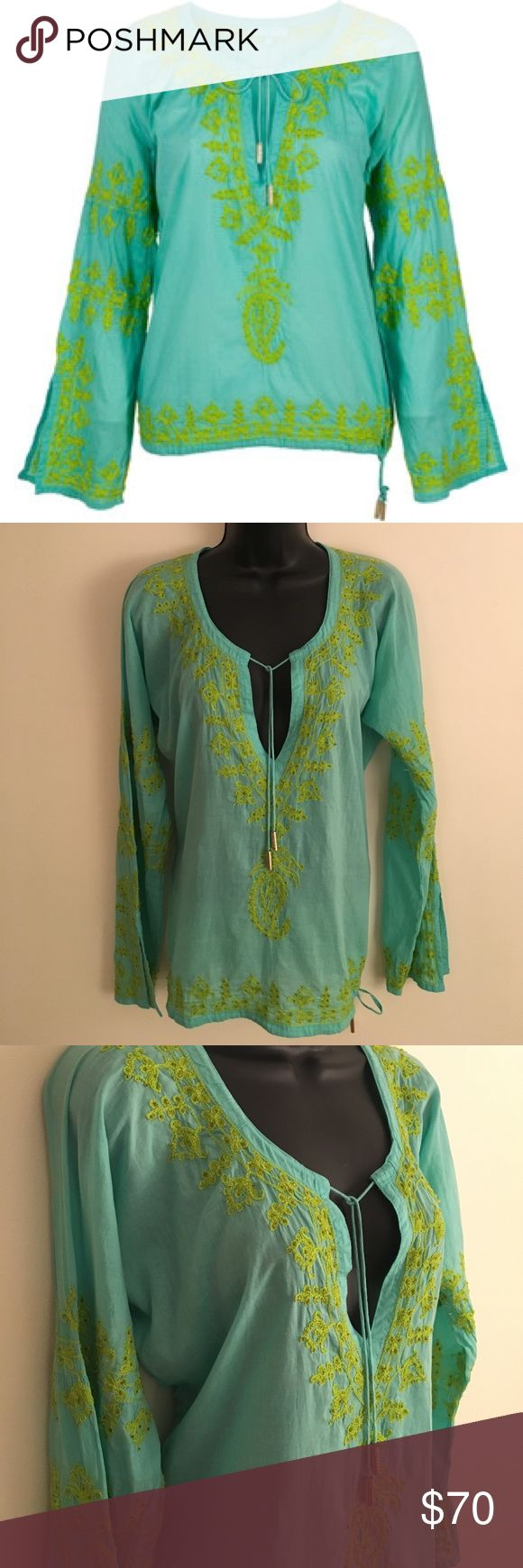 Melissa Odabash Cora Kaftan Top Stunning Melissa Odabash Cora Kaftan Tunic. Teal Blue with Green Embroidery and Beading. 100% Cotton. Never Worn, New Condition! Price is Negotiable! Melissa Odabash Swim Coverups