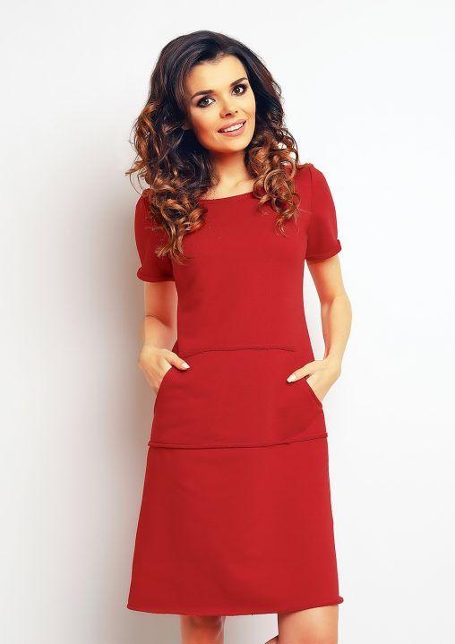 Bawełniana sukienka z kieszeniami czerwona fashion4u.pl