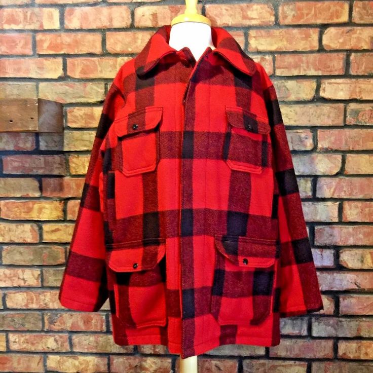 Vtg Woolrich Wool Hunting Coat Large 44 Buffalo Plaid Red Rockabilly Lumberjack #Woolrich #Outdoor