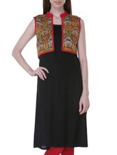 Black Handloom Cotton Kurta with Jacket