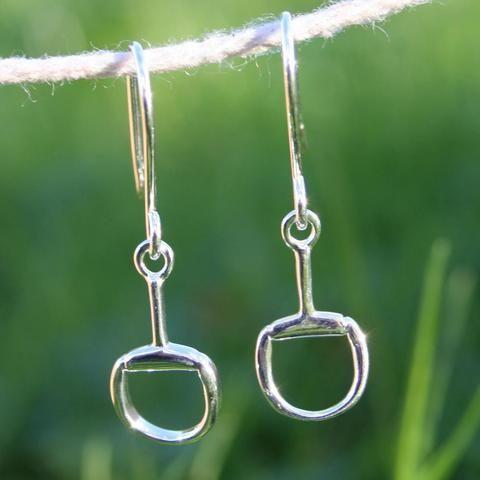 Snaffle Dangly Silver Earrings