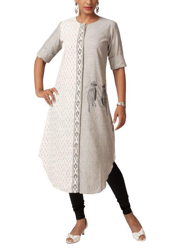 Indian Fashion Designers - Myoho - Contemporary Indian Designer Clothes - MYO-SS14-MYO-249 - Smart Ikat Kurta with Bird Embroidery - 1_4.jpg 600×825 pixels