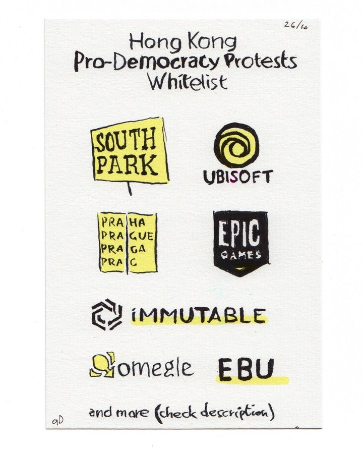 The Hong Kong Protests Whitelist Is A List Of International Companies That Oppose To Censorship Of The Chinese Online Card Games Card Games Chinese Communists