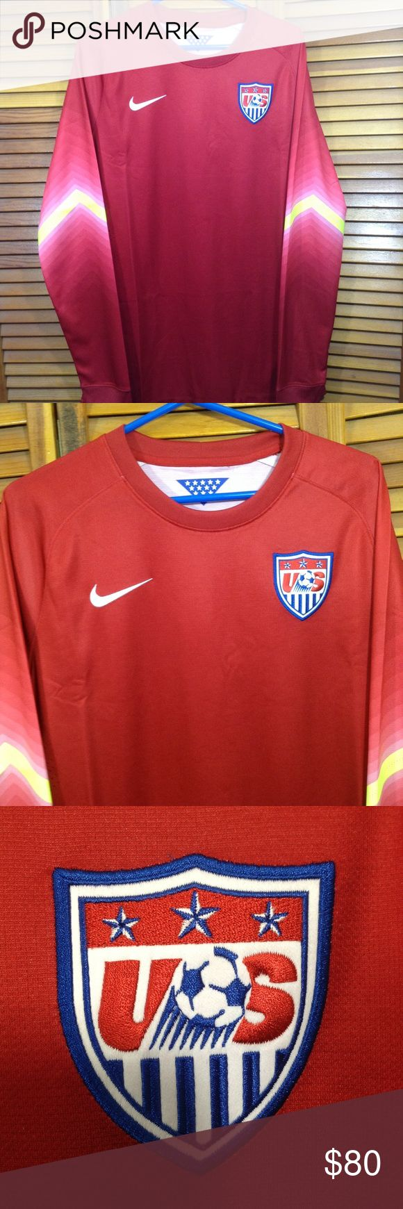 """Nike Authentic Team USA Soccer Jersey Goalie Pit to pit 22"""" Top to bottom 31"""" Sleeve 26"""" Nike Shirts Tees - Long Sleeve"""
