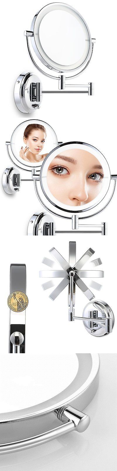 Makeup Mirrors: Miusco Lighted Magnifying Double Side Adjustable Makeup Mirror, Wall-Mounted, 8 -> BUY IT NOW ONLY: $51.59 on eBay!
