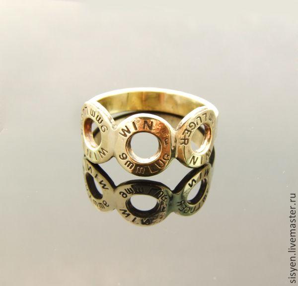Купить Кольцо из трёх гильз 9 мм - золотой, кольцо, подарок, украшение, гильза, патрон