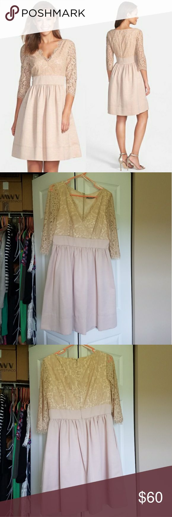 Eliza J Lace and Faille Nude Cocktail Dress Gorgrous! EUC worn only once for a few hours and in perfect condition! Nude Lace cocktail dress by Eliza J from Nordstrom. Sleeves are lace and opaque lace bodice with pleated skirt. Zips up the back. Size 10 Eliza J Dresses