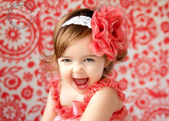 Coral Fabric Lace Puff Headband Huge Large White Band Fits Babies Toddlers Girls Photography Prop Floral Flower Boutique