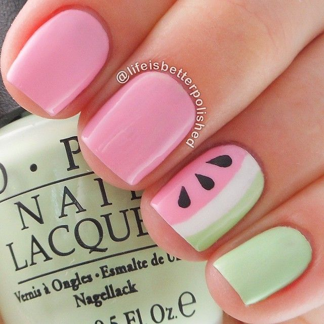 Seafoam and Pink Watermelon Inspired Nails.