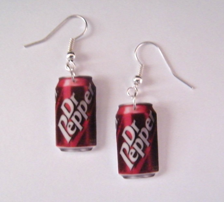 So cute! Dr Pepper Can Earrings. $7.99, via Etsy.