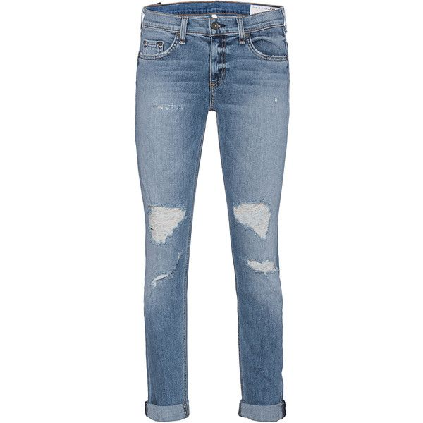 RAG&BONE Der Carter Blue // Destroyed jeans ($255) ❤ liked on Polyvore featuring jeans, pants, bottoms, jeans/pants, trousers, destructed jeans, loose fitting jeans, destroyed jeans, loose fit jeans and straight leg jeans