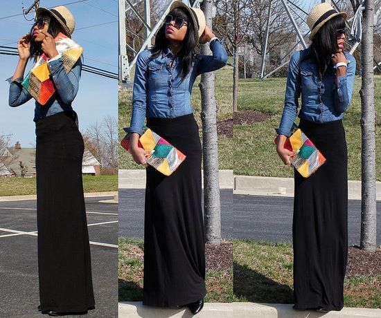 denim shirt black maxi dress ways to wear your denim