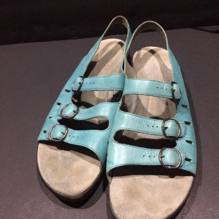 Clarks Sandals Women Size 12 Strap Buckle Jesus Shoe Turquoise Leather Comfort #Clarks #Gladiator