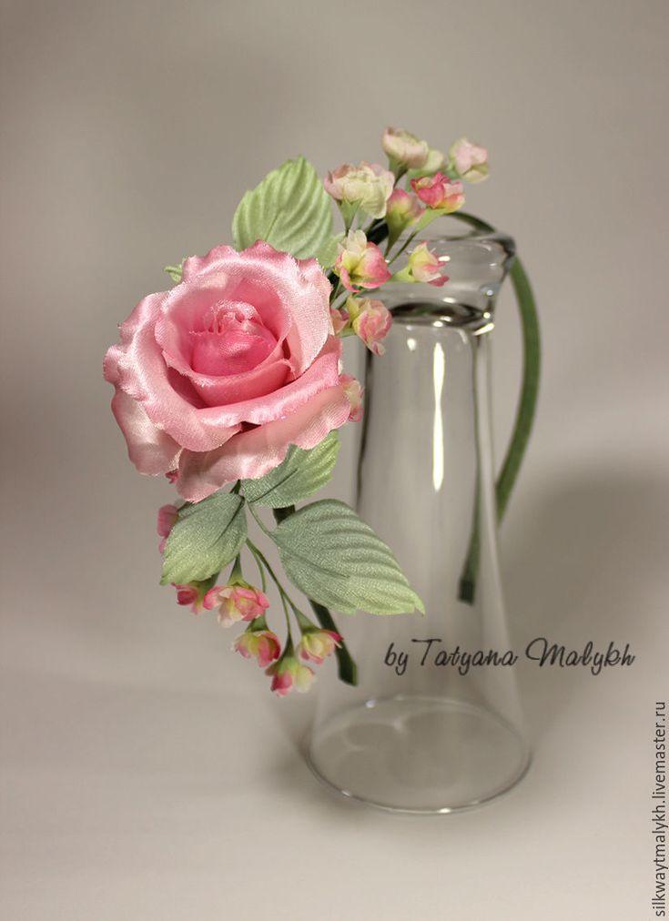 Купить Цветы из шелка. Цветы из ткани. Ободок с розой - розовый, нежное украшение, нежно-розовый