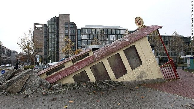 7. Bockenheimer Warte, Frankfurt, Germany     Depicting a train car crashing through the sidewalk, it leaves commuters either shocked or bemused, but rarely indifferent.