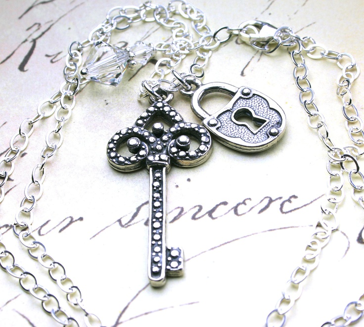 Silver Gothic Lock and Key Necklace