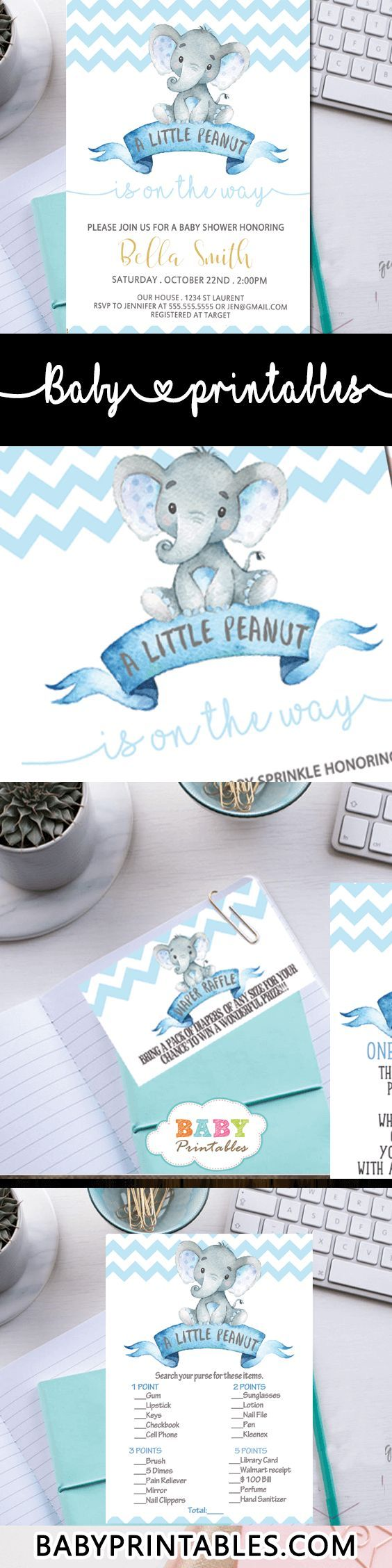Charming elephant baby shower invitations for boy. The little peanut baby shower invitations feature an adorable baby boy elephant sitting on top of a vintage ribbon banner against a white backdrop decorated with a chevron zigzag pattern in blue. The calligraphy comes in blue and grey highlighting the honoree(s) name in yellowish gold, a beautiful color combination for an elephant baby shower theme boy. #babyshower #babyshowerinvitations #babyshowerideas4u #babyshowerparty