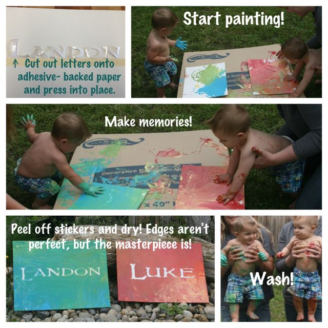 This was Landon and his buddy Luke's first time painting!! great playdate idea play date boys paint project kids outdoor messy letters lettering activity custom font girls mother son father daughter memories birthday party  things to do
