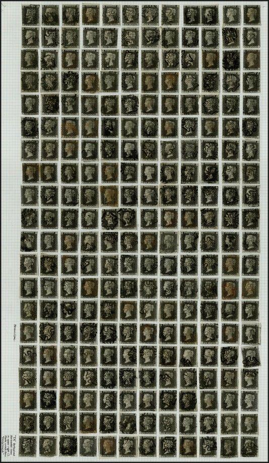 Les lettres dans les coins permettent aux philatélistes de recréer les feuilles d'impression.