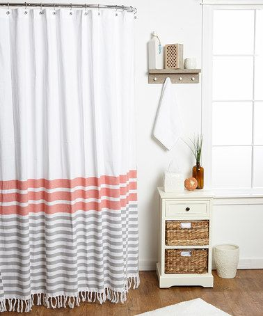 Awesome Envogue Coral Border Stripe Shower Curtain