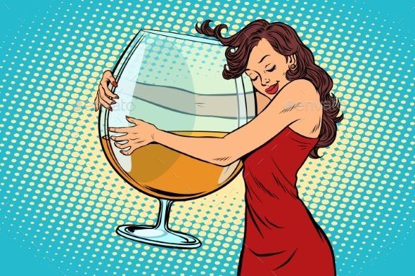 Woman Hugging a Glass of Wine | Pop art comic, Pop art, Pop art girl