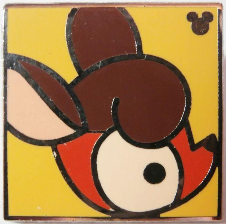 Hidden Mickey Disney Pin BAMBI Sweet Characters ORANGE  Square FACE Yellow DEER