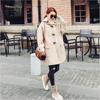Solid Color Hooded Women Autumn Woolen Blends Coat Female Light Tan Long Autumn Wool Coats Abrigos Mujer A2659