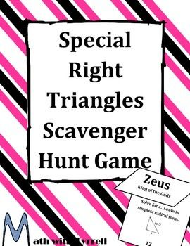 Brand new scavenger hunt!  Do you need a fun way for your students to practice their special right triangles?  This activity gets students moving and practicing their math skills.  Great for a high school geometry class or trigonometry class!