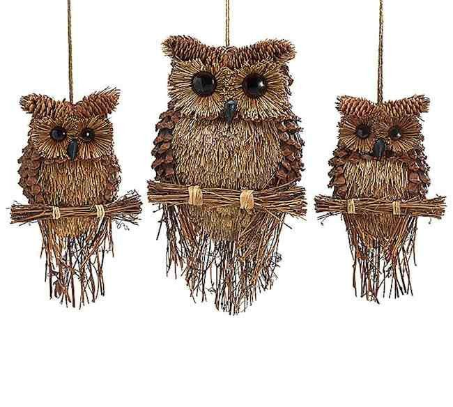 These rustic hooters promise good cheer and big smiles! Unique owls are a perfect touch for natural or rustic decor, in fact - they're just plain fun! Fine details and cool texture make these substant