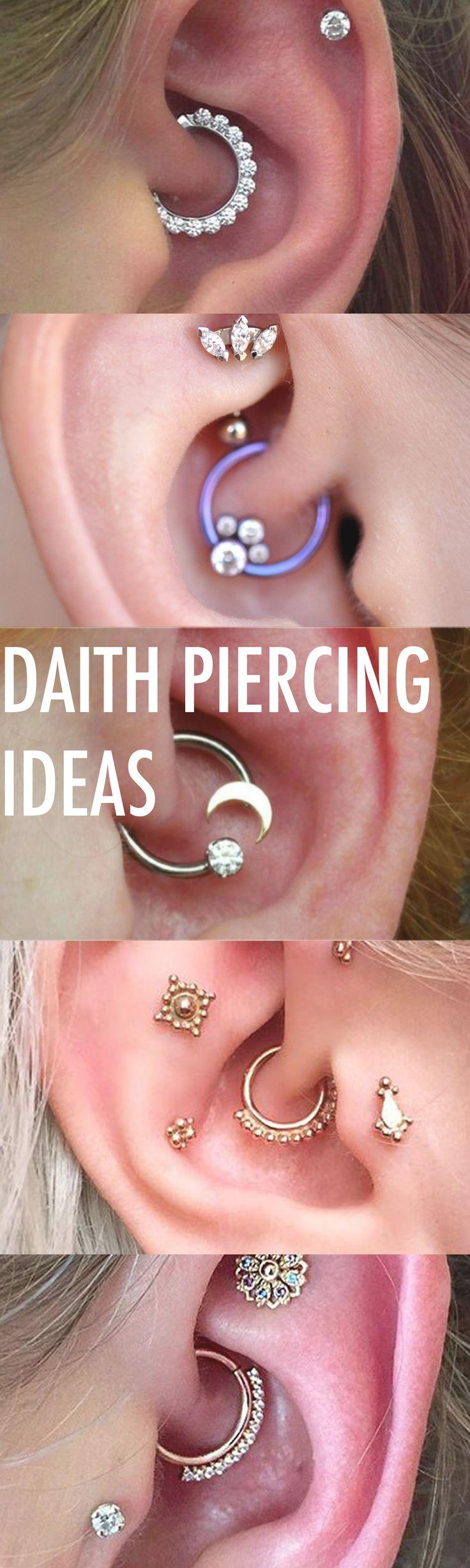 Creative Multiple Ear Piercing Ideas Combinations at MyBodiArt.com - Crystal Daith Earring Ring Hoop - Tragus Stud - Constellation Barbell - Triple Forward Helix