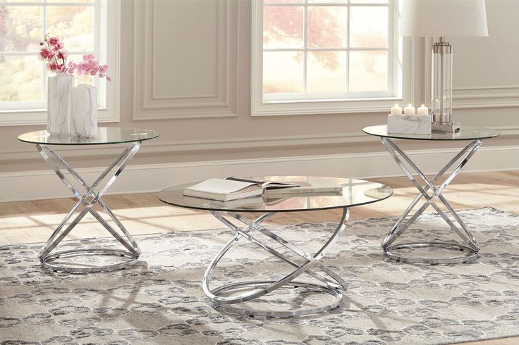 The Hollynyx Chrome Finish Occasional Table Set (3/CN