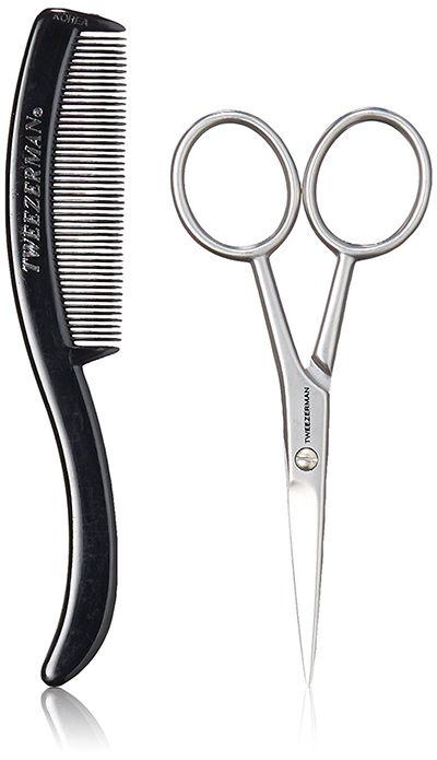 life4beard.ru ножницы для усов бороды бровей заказать купить стрижка уход Tweezerman Mustache Scissors sanguine Tweezer man G.E.A.R.