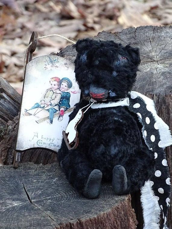 Black Teddy Bear. Artist Plush Teddy Bear. OOAK handmade