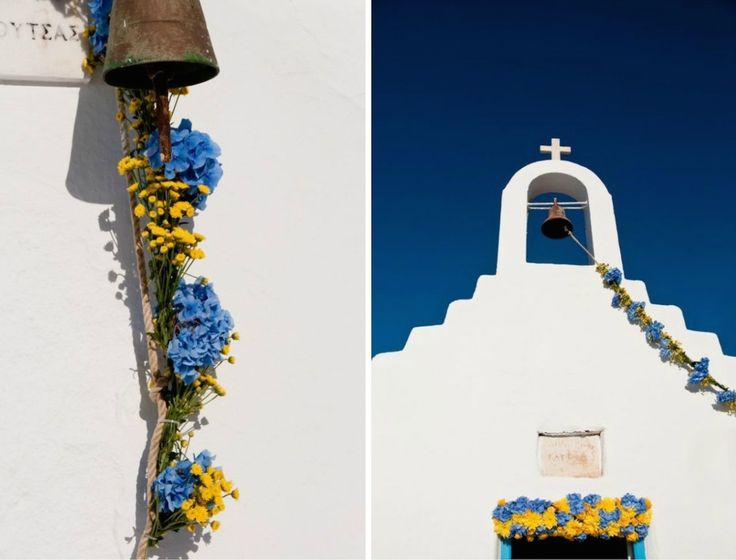 When Brazil Meets Greece Wedding @ Alemagou, Mykonos by De Plan V. Church door & bell garland decoration with hydrangeas in mykonian blue colour and vibrant yellow chrysanthemums. White, blue and brazilian  yellow in a harmony setting!