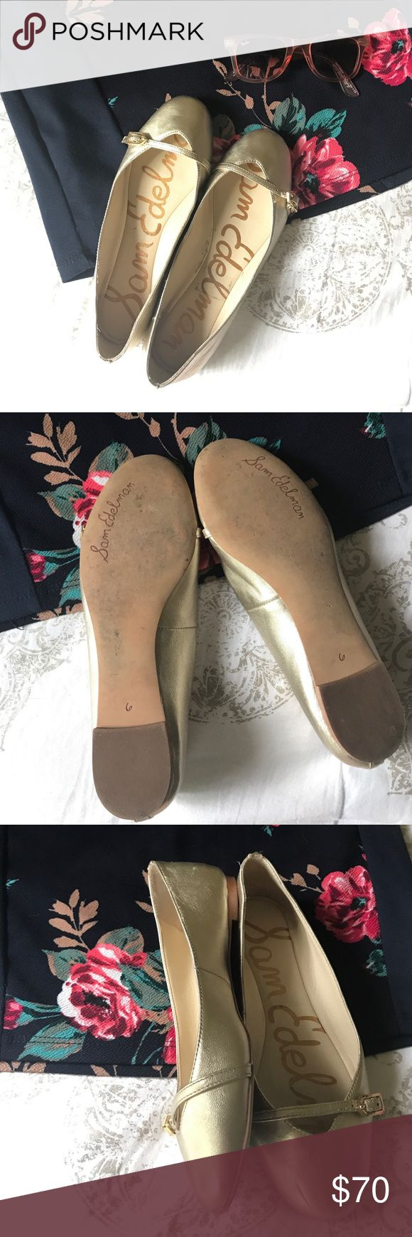"""{Sam Edelman} Gold Ballet slippers Gold Sam Edelman buckle flats. Very cute with buckle detail! Gently worn, without box.                                             -leather buckle detail                                                             -.25"""" approximate heel                                                              -easy to slip on                                                                    -man made leather Sam Edelman Shoes Flats & Loafers"""