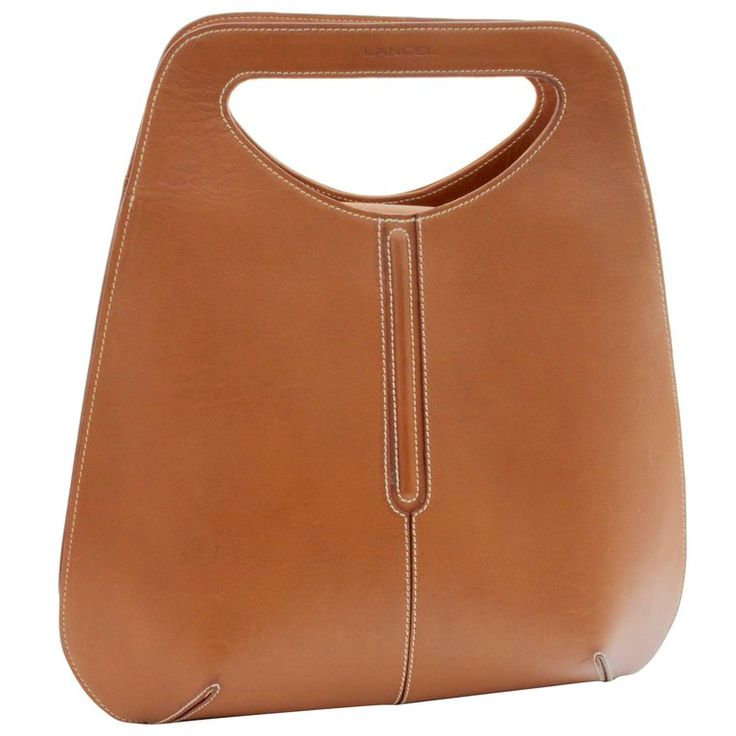 Lancel Paris Bowler Style Tote Bag with Cut Out Handle Saddle Leather  | 1stdibs.com