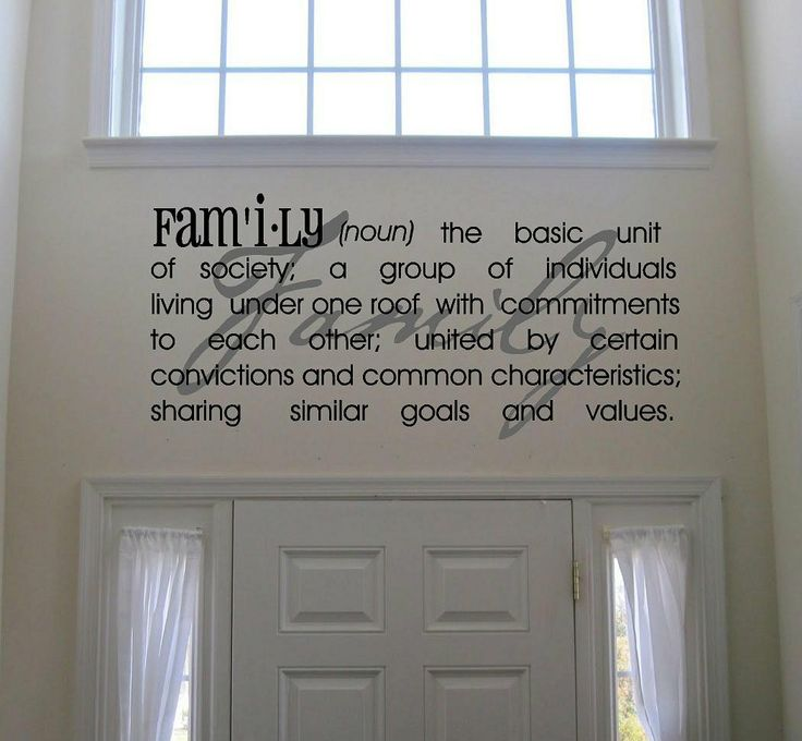 "Beautiful ""family"" definition wall vinyl - perfect for over an entryway!: Decor Itswritteninvinyl, Wall Art, House Ideas, Family Definition, Home Decor, Vinyl Lettering, Definition Vinyl"