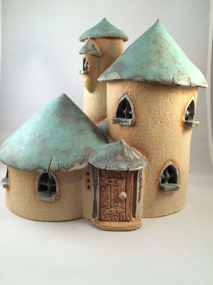 Green roofed fairy mansion with turet, oneoff, handmade, fairy house for the garden. by HereNorTherey on Etsy
