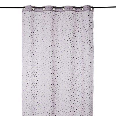 Voilage 140x240cm motifs étoiles violettes pailletées