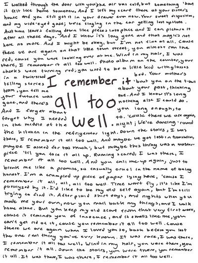 All Too Well - Taylor Swift