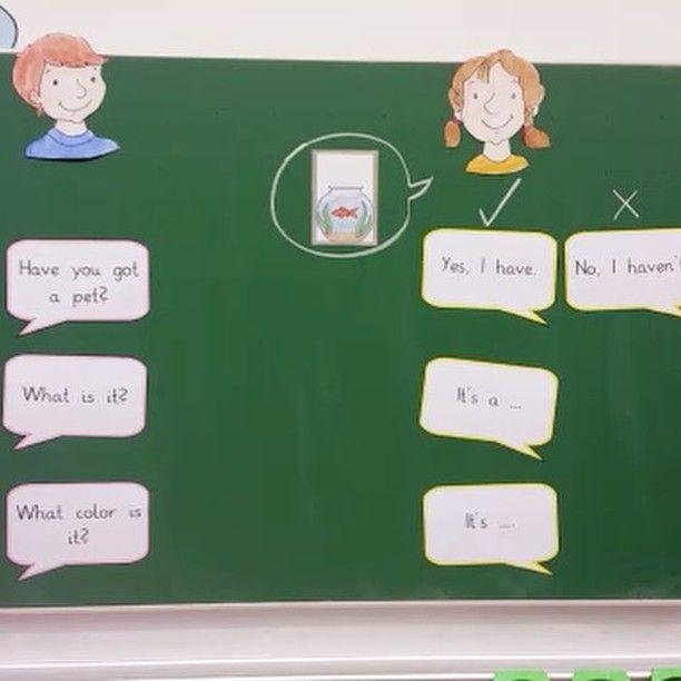 Dialogisches sprechen im Englischunterricht In der Arbeitsphase interviewen die Kinder ihre Mitschüler. #englischunterricht #ifa #englischindergrundschule #pets #tafelbild #dialogischessprechen #interview #unterrichtsideen #elementaryschool #elmarundemil