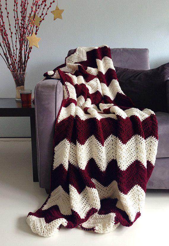 Christmas blanket - crochet chevron afghan Burgundy red and cream