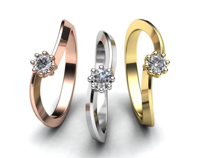 Nové zásnubní prsteny jednoduchého designu. Šperku dominuje jeden větší kamínek zasazený do krapen. Prsten vyrábím ze žlutého, bílého nebo červeného zlata. www.korbicka.com