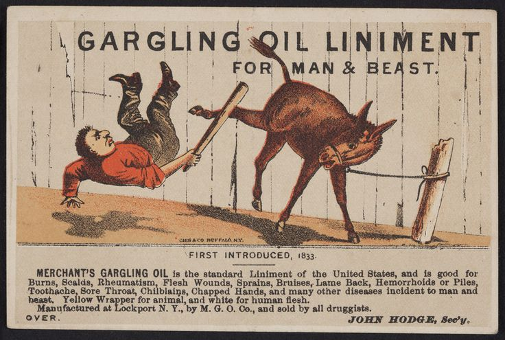 Trade card for Merchant's Gargling Oil Liniment for man & beast, John Hodge, Merchant's Gargling Oil Company, Lockport, New York, undated | Ephemera collection (EP001) -- Historic New England