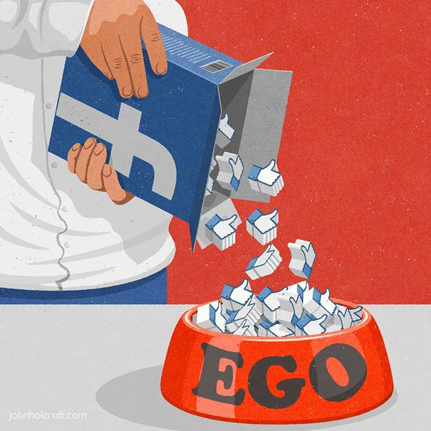 This cartoon shows Satire because it shows how we use technology to build up our ego and feel better about ourselves depending on how many likes or shares we get. This is a controversial issue because many people don't agree or believe that.